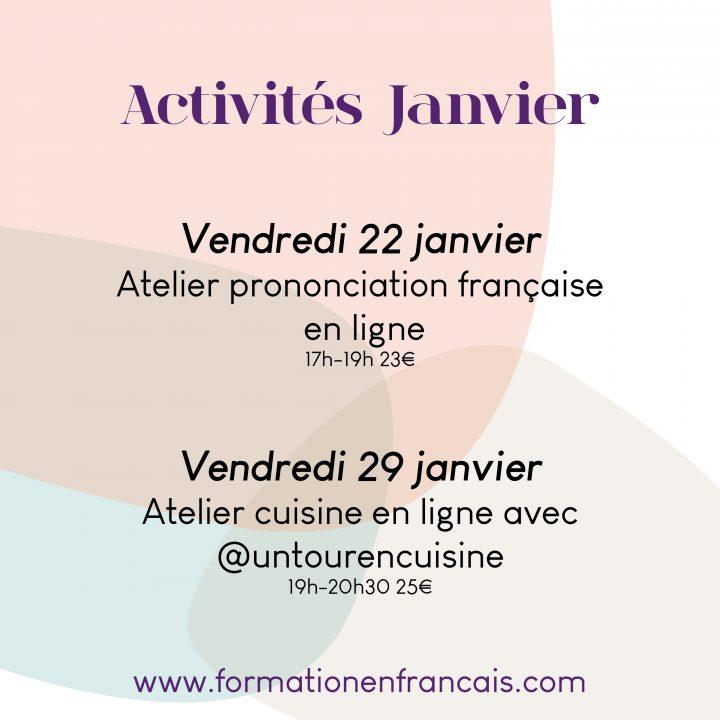 Las actividades en francés de enero